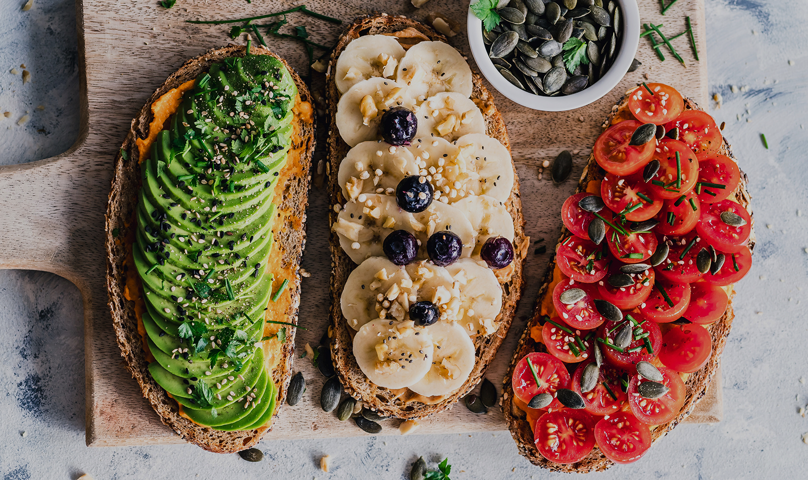 toasts with different toppings