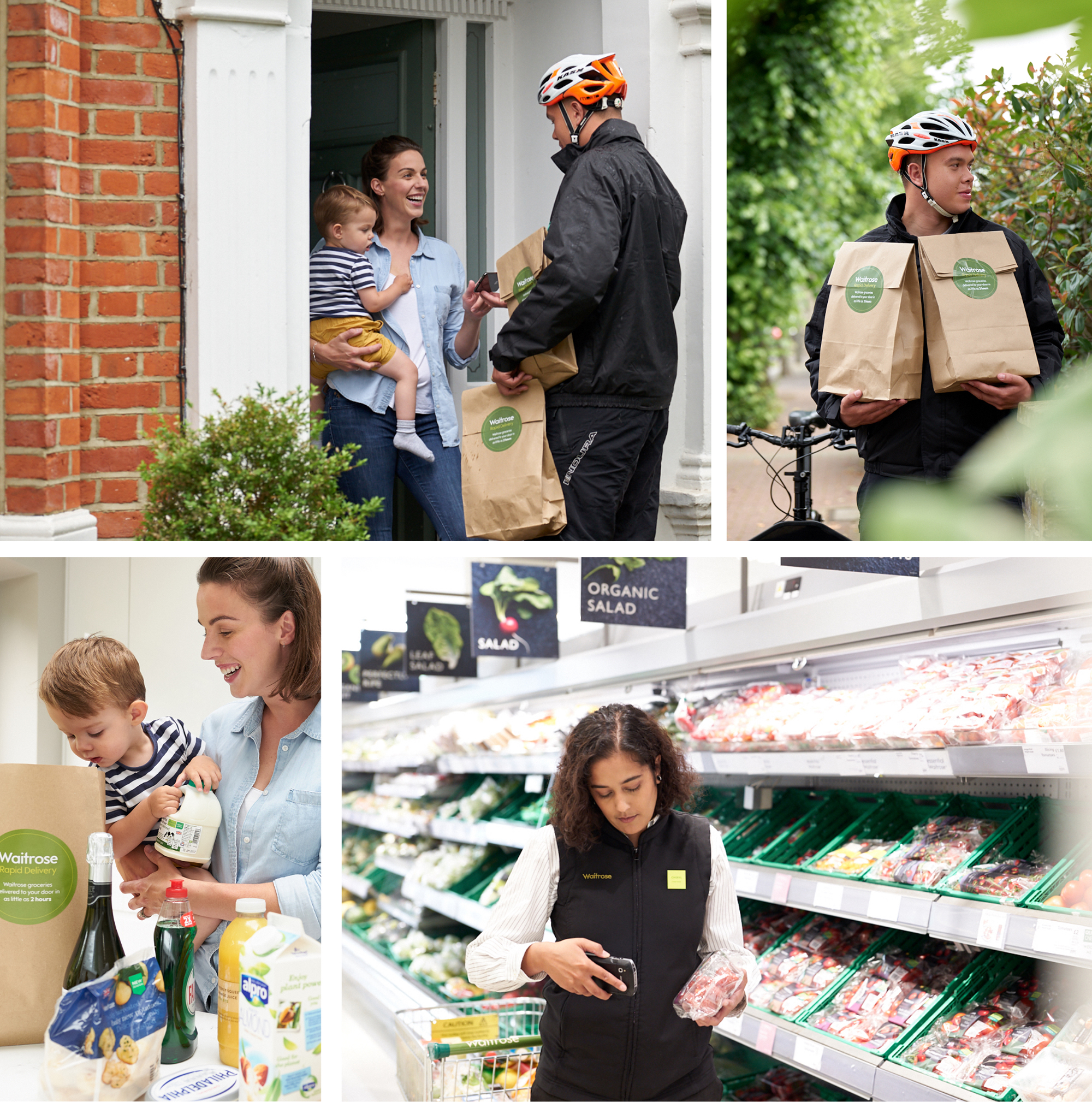 man delivering waitrose food to a family, woman scanning code of a produce bag